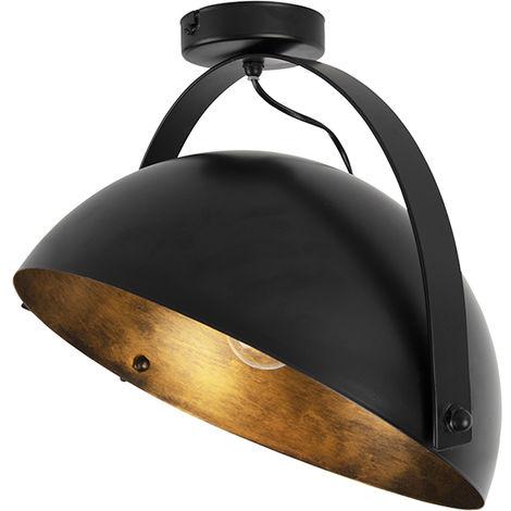 QAZQA Moderno Plafón industrial negro/oro orientable - MAGNA Acero Redonda Adecuado para LED Max. 1 x 60 Watt
