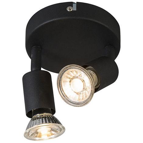 QAZQA Moderno Plafón industrial redondo negro orientable - JEANY 2 Acero Redonda /Otros Adecuado para LED Max. 2 x 35 Watt