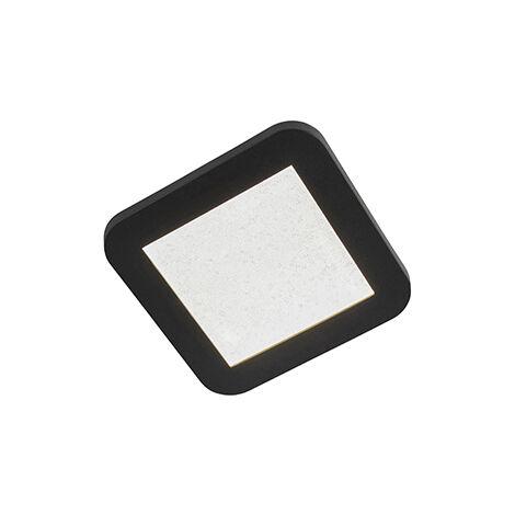 QAZQA Moderno Plafón IP44 negro regulable 3 pasos LED 22,5cm - STEVE Plástico Cuadrada Incluye LED Max. 1 x 12 Watt