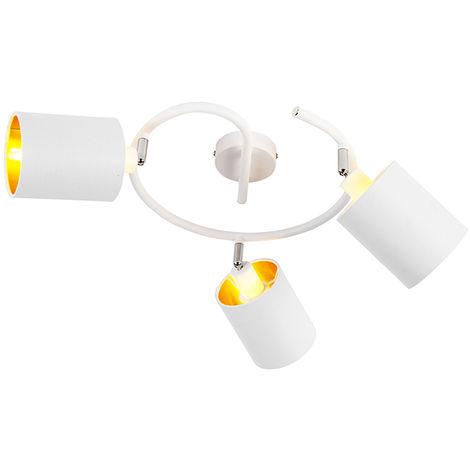 QAZQA Moderno Plafón moderno blanco 3-luces - LOFTY Acero /Textil Cilíndra /Redonda Adecuado para LED Max. 3 x 25 Watt