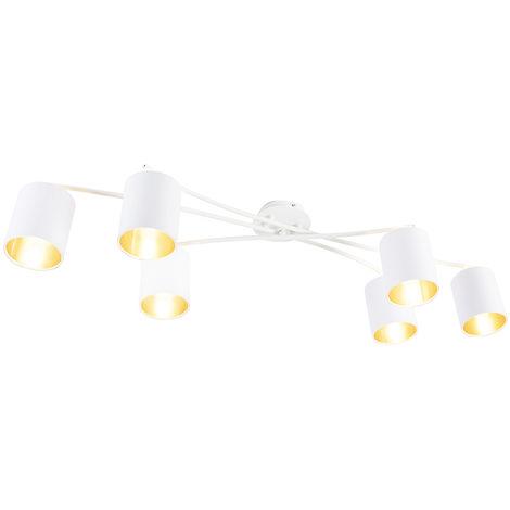 QAZQA Moderno Plafón moderno blanco 6-luces - LOFTY Acero /Textil Cilíndra /Redonda Adecuado para LED Max. 6 x 40 Watt