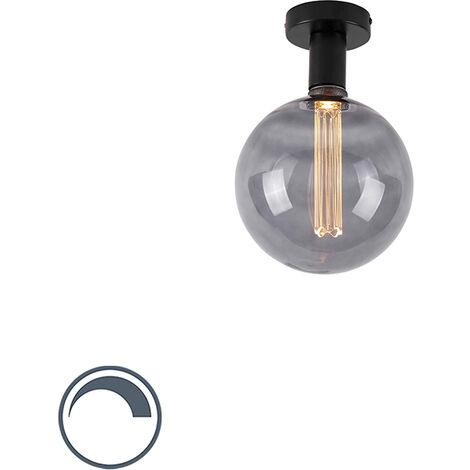 QAZQA Moderno Plafón moderno negro 1-bombilla-cristal-ahumado-G200 - FACILE Acero Alargada Adecuado para LED Max. 1 x 3.5 Watt