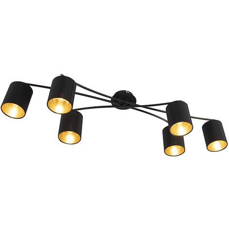 QAZQA Moderno Plafón moderno negro 6-luces - LOFTY Acero /Textil Cilíndra /Redonda Adecuado para LED Max. 6 x 40 Watt