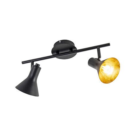 QAZQA Moderno Plafón moderno negro/oro 2 luces - MAGNO Acero Redonda /Alargada Adecuado para LED Max. 2 x 40 Watt