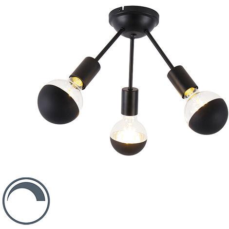 QAZQA Moderno Plafón negro 3-bombillas-cúpula-G95 - SPUTNIK Acero Redonda Adecuado para LED Max. 3 x 5 Watt