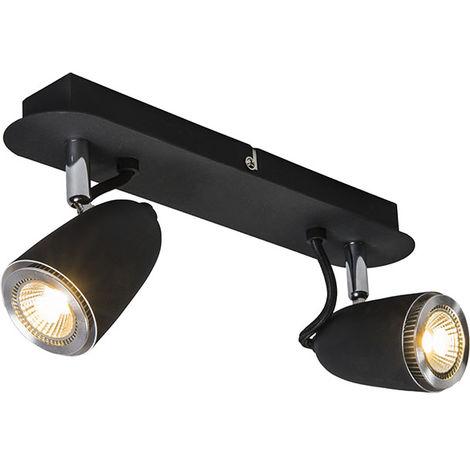 QAZQA Moderno Plafón retro negro giratorio e inclinable - TAZA 2 Metálica Redonda /Rectangular Adecuado para LED Max. 2 x 35 Watt