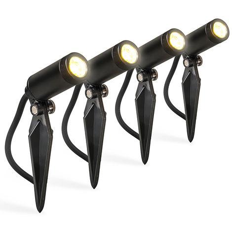 QAZQA + Moderno Set 4 focos estacas LED IP68 - GARLY Aluminio /Plástico Cilíndra Incluye LED Max. 4 x 12 Watt