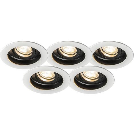 QAZQA Moderno Set 5 focos empotrados moderno blanco negro - RONDOO Aluminio Redonda Adecuado para LED Max. 1 x 50 Watt