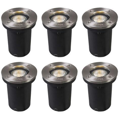 QAZQA Moderno Set 6 focos de suelo acero IP65 LED - BASIC Round Vidrio /Plástico /Acero inoxidable Redonda Adecuado para LED Max. 6 x 4.2 Watt