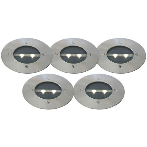 QAZQA Moderno Set de 5 focos de suelo modernos acero solar LED - TINY Metálica Cilíndra /Redonda Incluye LED Max. 1 x 1 Watt