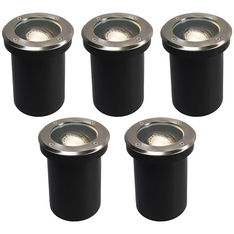 QAZQA Moderno Set de 5 focos empotrado suelo moderno acero RVS IP65 - DELUX Vidrio /Plástico /Acero inoxidable Redonda Adecuado para LED Max. 5 x 50 Watt