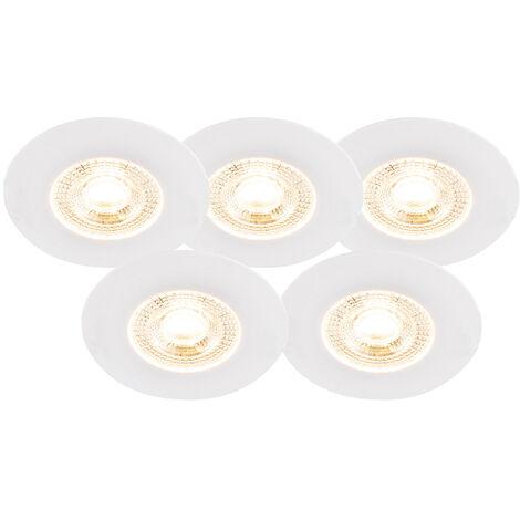 QAZQA Moderno Set de 5 focos empotrados blancos regulables-3-pasos - ULO Plástico Redonda Incluye LED Max. 1 x 5 Watt