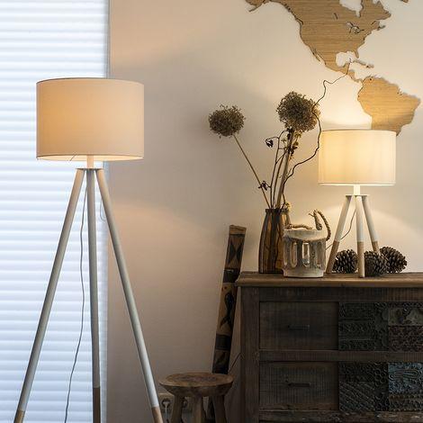 "main image of ""QAZQA Moderno Set trípode mesa y de pie pantallas blancas - PIP Madera /Textil Redonda Adecuado para LED Max. 1 x 40 Watt"""