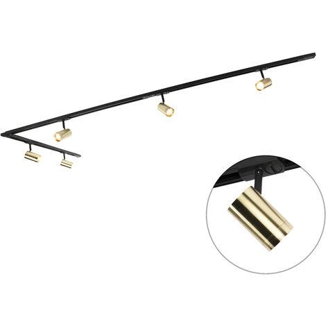 QAZQA + Moderno Sistema de riel moderno monofásico 5 focos negros/oro - JEANA Aluminio Alargada Adecuado para LED Max. 5 x 50 Watt