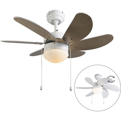 QAZQA Moderno Ventilador de techo blanco - Fresh 3 Vidrio /Madera /Acero Redonda Adecuado para LED Max. 1 x 60 Watt