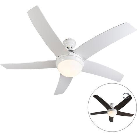 QAZQA Moderno Ventilador de techo con luz y mando a distancia con luz blanco con control remoto - Cool 52 Vidrio /Madera /Acero Redonda Adecuado para LED Max. 2 x 40 Watt