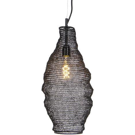 QAZQA Oriental Lámpara colgante oriental negra - NIDUM Rombo Acero Redonda Adecuado para LED Max. 1 x 25 Watt