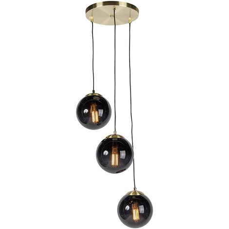 Qazqa Pallon Lampes suspensions Sphere Noir