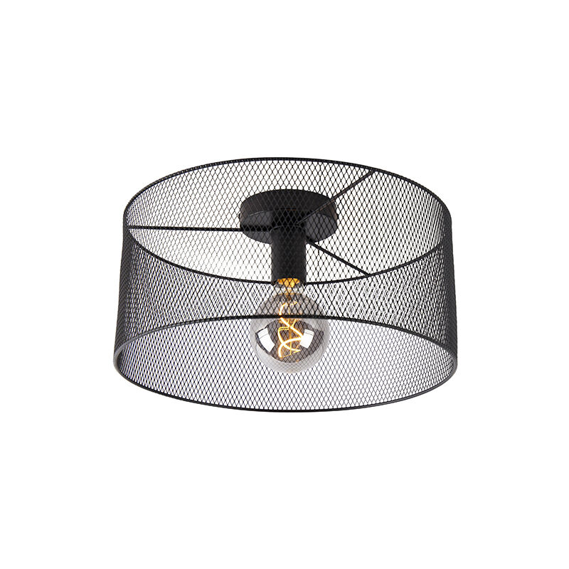 QAZQA Plafoniera drum-mesh - Industriale - Acciaio - Nero - Tondo Max. 1 x Watt