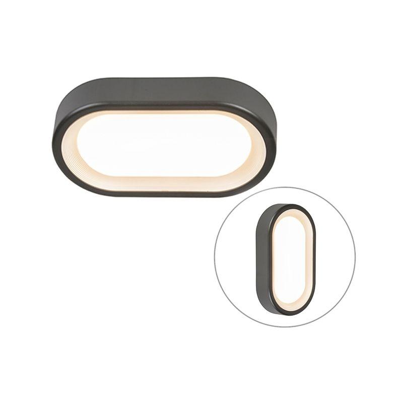 Plafoniera Ginny - Moderno - Plastico - Grafite - Ovale Non sostituibile Max. 1 x 9 Watt - Qazqa