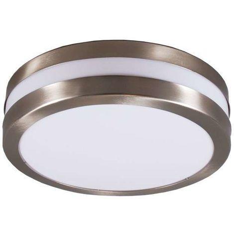 QAZQA Plafoniera Leeds - Moderno - Plastico,Metallo - Bianco/Acciaio - Tondo Max. 2 x Watt