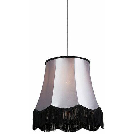 Tissu Lampe à Suspension salle a manger Retro noir avec gris 45 cm - Granny Qazqa Retro Luminaire interieur Rond