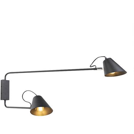 QAZQA Retro/Vintage Aplique de diseño negro 2 luces ajustable - Lune Acero Alargada Adecuado para LED Max. 2 x 60 Watt