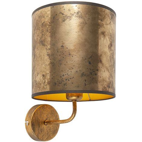 QAZQA Retro/Vintage Aplique vintage dorado pantalla bronce/oro - MATT Metálica /Textil Redonda Adecuado para LED Max. 1 x 60 Watt
