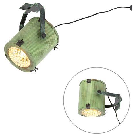 QAZQA Retro/Vintage Foco de estudio vintage verde - BROOKE Vidrio /Acero Otros Adecuado para LED Max. 1 x 40 Watt