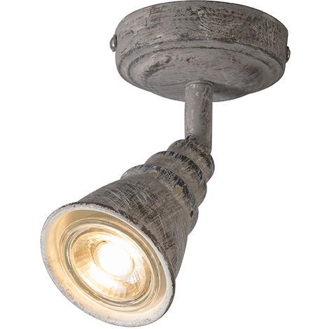 QAZQA Retro/Vintage Foco gris orientable - CONEY 1 Metálica Redonda Adecuado para LED Max. 1 x 35 Watt