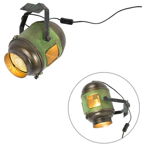 QAZQA Retro/Vintage Foco industrial bronce/verde - BYRON Metálica Otros Adecuado para LED Max. 1 x 40 Watt