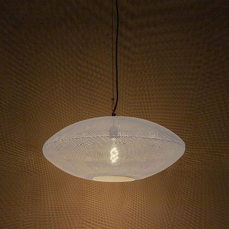 QAZQA Retro/Vintage Lámpara colgante redonda vintage 60cm blanco con cobre - RADIANCE Metálica Redonda Adecuado para LED Max. 1 x 60 Watt