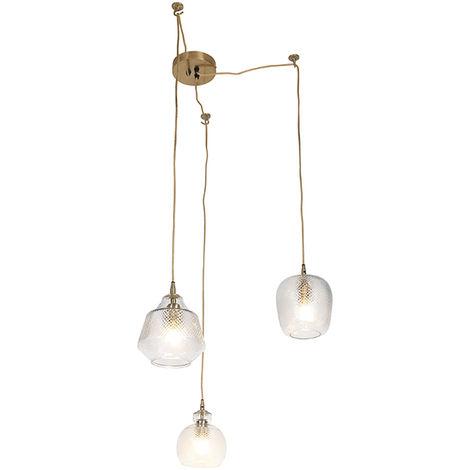 QAZQA Retro/Vintage Lámpara colgante vintage esférica vidrio decorada con dorado 3 luces - BARDO /Acero /Cuerda Orgánica Adecuado para LED Max. 3 x Watt