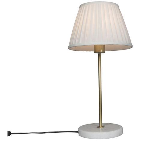 QAZQA Retro/Vintage Lámpara de mesa retro latón pantalla plisada crema 25cm - KASO Textil /Acero /Mármol Redonda Adecuado para LED Max. 1 x 60 Watt