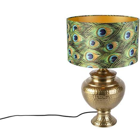 QAZQA Retro/Vintage Lámpara de mesa vintage de latón con pantalla de pavo real - Hazard A Metálica /Textil Redonda Adecuado para LED Max. 1 x 40 Watt