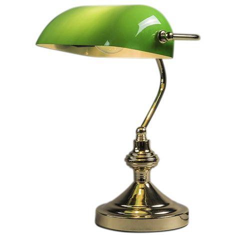 QAZQA + Retro/Vintage Lámpara de notario clásica latón/oro verde -BANKER Vidrio /Acero Redonda /Alargada Adecuado para LED Max. 1 x 60 Watt