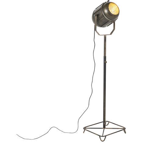 QAZQA Retro/Vintage Lámpara de pie industrial bronce 140cm - BROCA Metálica Otros Adecuado para LED Max. 1 x 40 Watt
