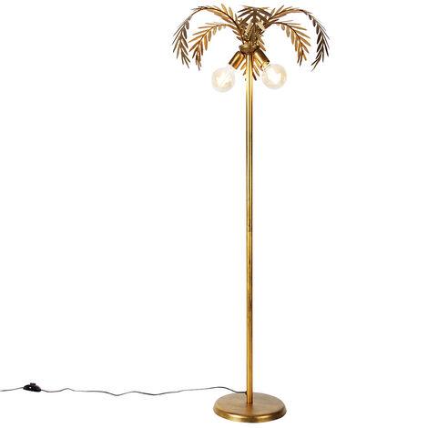 QAZQA + Retro/Vintage Lámpara de pie vintage oro 2 luces - BOTANICA Metálica Alargada Adecuado para LED Max. 2 x 60 Watt