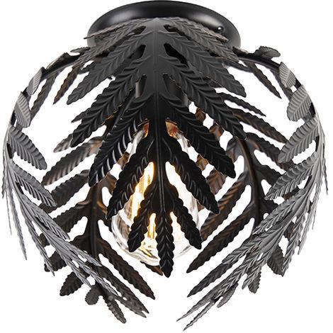 QAZQA Retro/Vintage Lámpara de techo vintage pequeña negra - Botanica Acero Esfera Adecuado para LED Max. 1 x 60 Watt