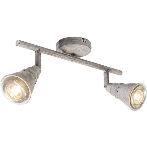 QAZQA Retro/Vintage Plafón/aplique blanco envejecido orientable - CONEY 2 Metálica Alargada Adecuado para LED Max. 2 x 50 Watt