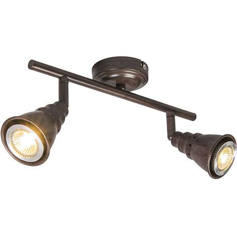 QAZQA Retro/Vintage Plafón/aplique óxido orientable - CONEY 2 Metálica Alargada Adecuado para LED Max. 2 x 35 Watt