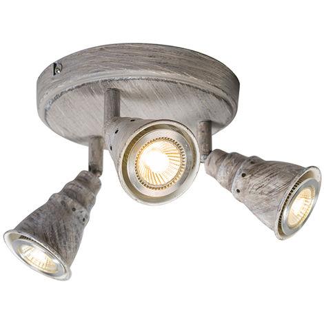 QAZQA Retro/Vintage Plafón/aplique redondo blanco envejecido orientable - CONEY 3 Metálica Redonda Adecuado para LED Max. 3 x 35 Watt