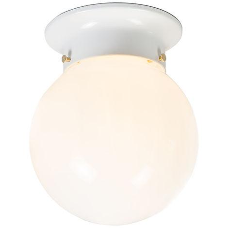 QAZQA Retro/Vintage Plafón retro blanco cristal translúcido - SCOOP Vidrio /Plástico Redonda /Esfera Adecuado para LED Max. 1 x 60 Watt