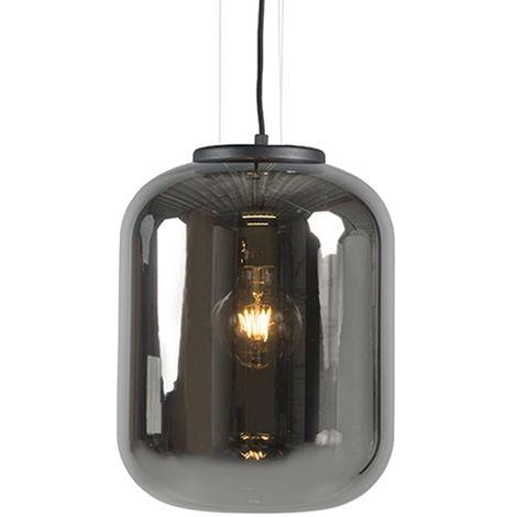 QAZQA Retro/Vintage Set 2 lámparas colgantes diseño cristal ahumado - BLISS Vidrio /Metálica Redonda Adecuado para LED Max. 1 x 60 Watt