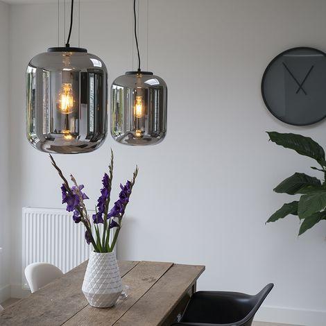 QAZQA Retro/Vintage Set 2 lámparas colgantes diseño cristal ahumado - BLISS Vidrio /Metálica Redonda Adecuado para LED Max. 1 x Watt