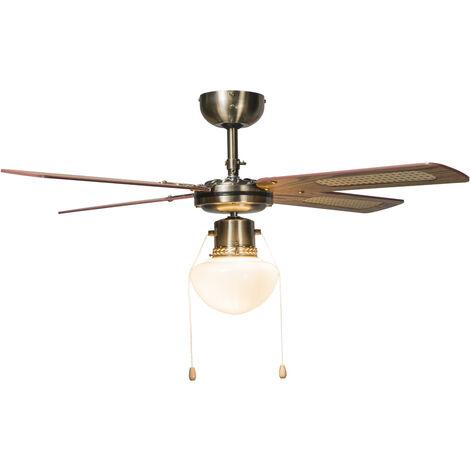 QAZQA Retro/Vintage Ventilador de techo industrial con lámpara 100 cm madera - Wind Vidrio /Acero Redonda Adecuado para LED Max. 1 x 60 Watt