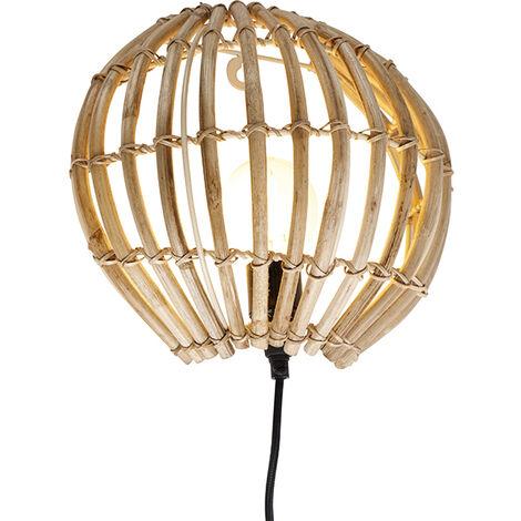 QAZQA rústico Aplique rústico bambú - CANNA Bambú Redonda Adecuado para LED Max. 1 x 40 Watt