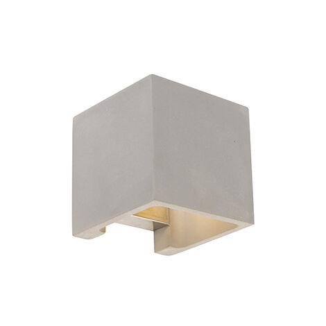 QAZQA rústico Aplique rústico cuadrado hormigón - ALBAN Piedra/cemento Cuadrada Adecuado para LED Max. 1 x 25 Watt