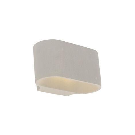 QAZQA rústico Aplique rústico ovalado hormigón - ARLES Piedra/cemento Ovalada Adecuado para LED Max. 1 x 25 Watt