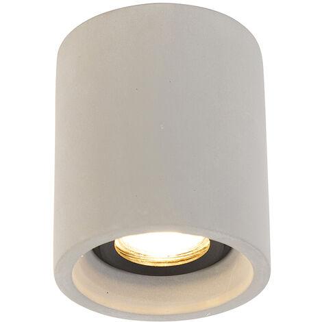 QAZQA rústico Foco rústico redondo hormigón- DEEP Piedra/cemento Redonda Adecuado para LED Max. 1 x 25 Watt